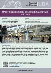 Maestría en Derecho Internacional Privado 2015- UBA (Argentina)