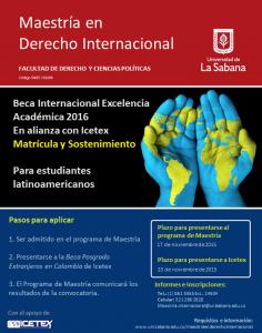 Beca Internacional Excelencia Académica 2016- Maestría en Derecho Internacional