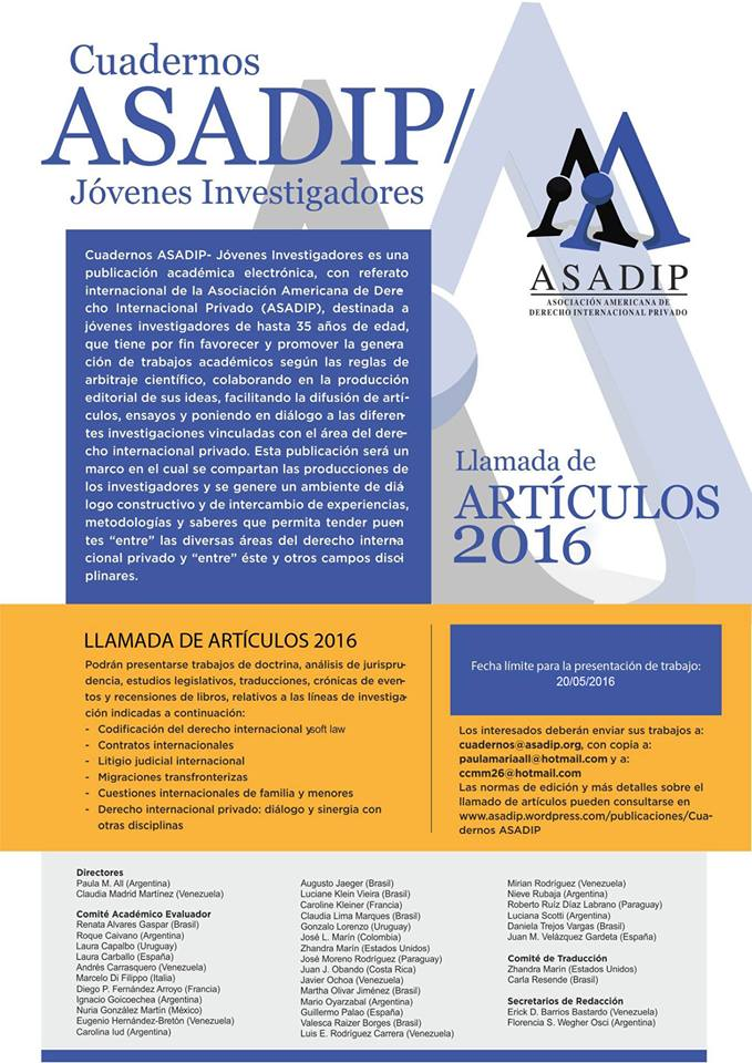 CUADERNOS ASADIP 2 AFICHE MAYO 2016 espanol